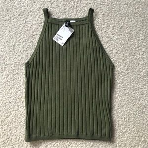 H & M NWT Ribbed Halter Style Fitted Tank Top, S